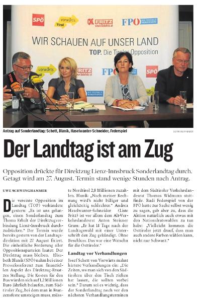 Bericht der Kleinen Zeitung zum Sonderlandtag Osttirol
