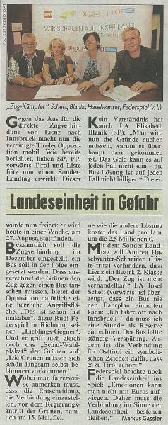Bericht der Kronen Zeitung zum Sonderlandtag Osttirol