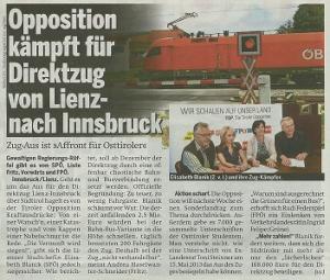 Bericht der Tageszeitung Österreich zum Sonderlandtag Osttirol
