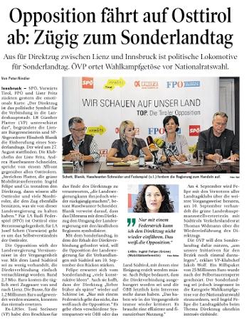 Bericht in der Tiroler Tageszeitung zum Sonderlandtag Osttirol