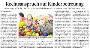 Bericht der Tiroler Tageszeitung zum Rechtsanspruch auf Kinderbetreuung