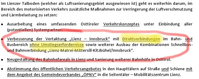 Antrag zum Direktzug Lienz-Innsbruck