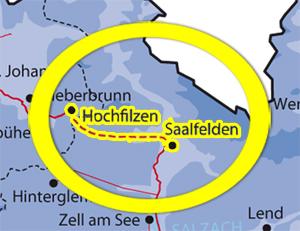 Karte der geforderten Gasleitung zwischen Saalfelden und Hochfilzen