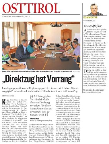 Bericht der Kleinen Zeitung zum Direktzug Lienz-Innsbruck