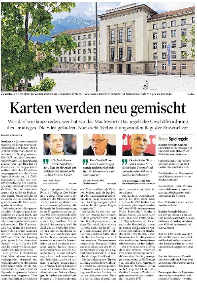 Bericht der Tiroler Tageszeitung zum Demokratiepaket