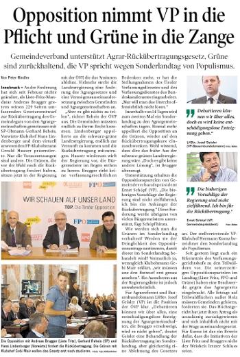 Bericht der Tiroler Tageszeitung zum Thema Agrargemeinschaften