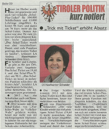 Bericht der Kronen Zeitung zum Schul-Ticket