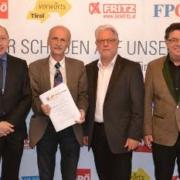 Vetreter der Tiroler Oppositionsparteien bei einer Pressekonferenz