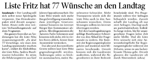 Artikel der Tiroler Tageszeitung zum Demokratiepaket der Liste Fritz