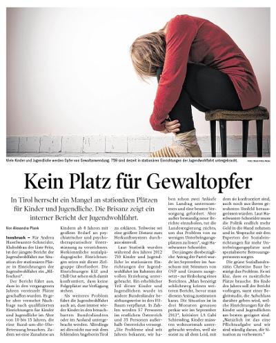Bericht der Tiroler Tageszeitung über Gewalt gegen Kinder und Jugendliche