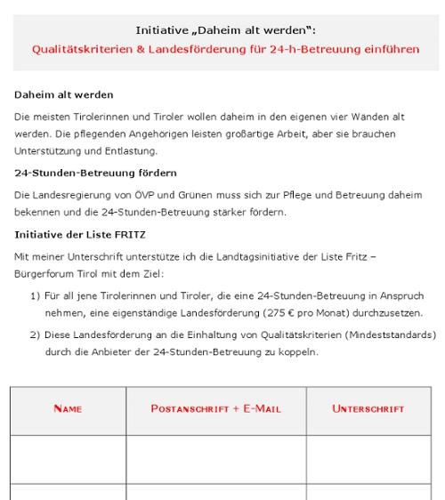 """Die Unterschriftenliste zur Initiative """"Daheim alt werden"""""""