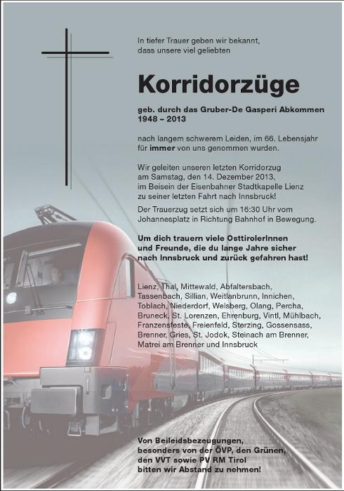 Eine Parte für den Korridorzug Lienz-Innsbruck