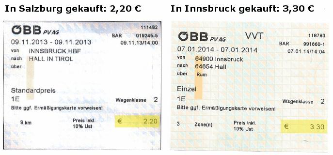 Ein Vergleich von Fahrkarten der ÖBB und des VVT