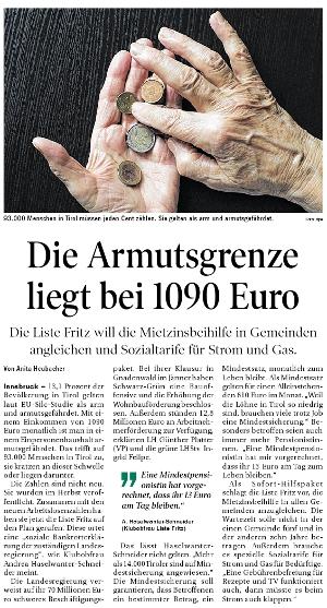 Bericht der Tiroler Tageszeitung zum Thema Armut