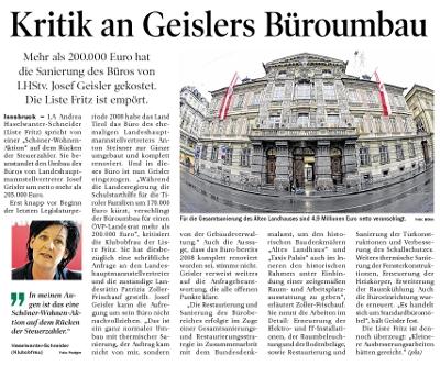 Bericht der Tiroler Tageszeitung zum Büroumbau von LHStv. Geisler