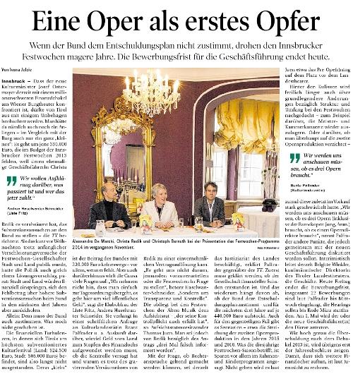 Bericht der Tiroler Tageszeitung zur Misere bei den Festwochen