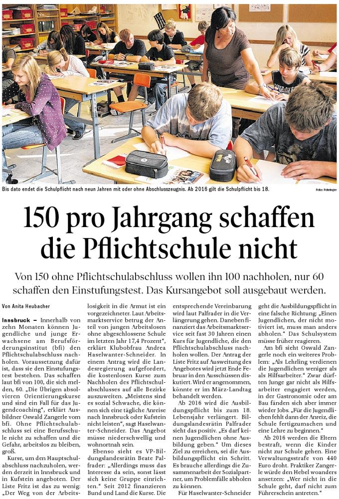 Bericht der Tiroler Tageszeitung zum Hauptschulabschluss
