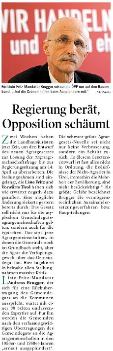 Bericht der Tiroler Tageszeitung zum Agrargesetz
