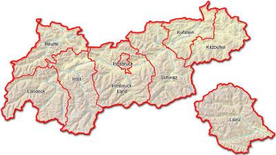 Eine Landkarte von Tirol mit Bezirksgrenzen