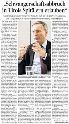 Bericht der Tiroler Tageszeitung zu Gesundheitsminister Stöger