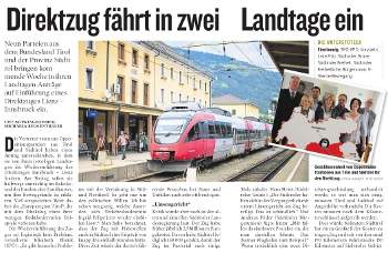Bericht der Kleinen Zeitung zum Thema Direktzug Lienz-Innsbruck