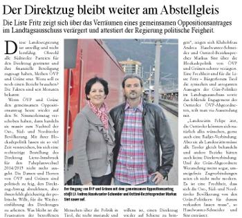 Bericht im Basics zum Direktzug Lienz-Innsbruck