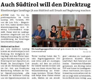 Bericht der Bezirksblätter zum Thema Direktzug Lienz-Innsbruck