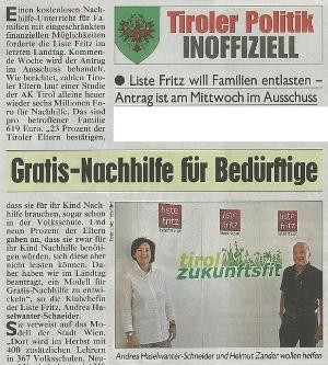 Bericht der Kronen Zeitung zum Thema Gratis-Nachhilfe