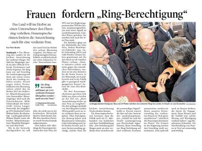 """Bericht der Tiroler Tageszeitung zum Thema """"Ring des Landes Tirol"""""""