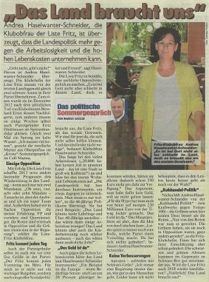Sommerinterview mit Andrea Haselwanter-Schneider in der Kronen Zeitung