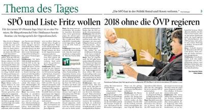 Sommerinterview mit Fritz Dinkhauser in der Tiroler Tageszeitung