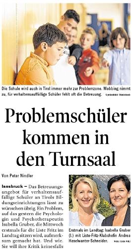 Bericht der Tiroler Tageszeitung zum Thema Problemschüler