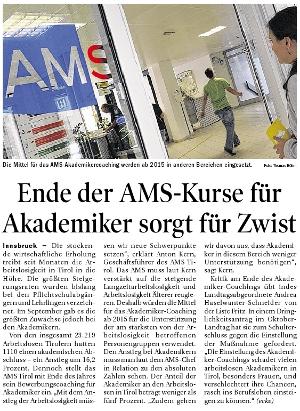 Artikel in der Tiroler Tageszeitung über das AMS