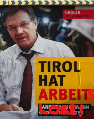 Verändertes Plakat von Günther Platter