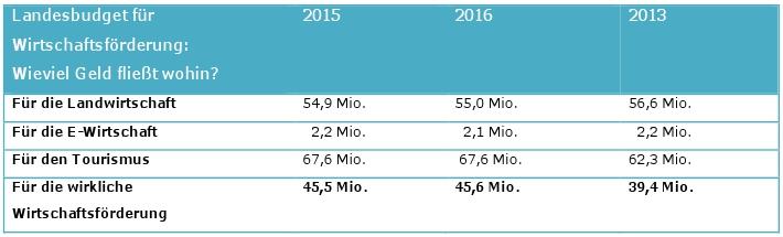 Statistik zur Wirtschaftsförderung des Landes Tirol