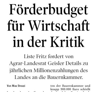 Bericht der Tiroler Tageszeitung über Wirtschaftsförderung