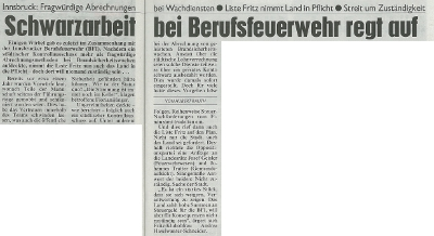 Bericht der Kronen Zeitung zur Berufsfeuerwehr Innsbruck