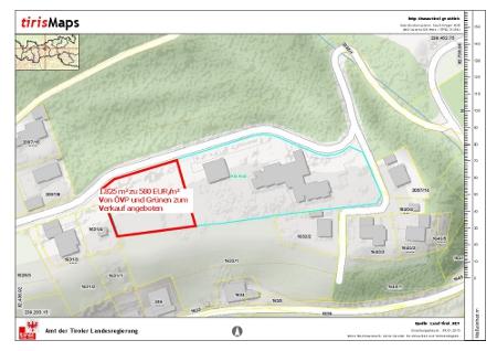 Skizze der Verkaufsfläche des Kinderheims Jugendland in Arzl