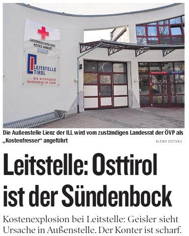 Bericht der Kleinen Zeitung zur Leitstelle Tirol und Außenstelle in Osttirol