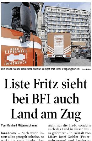 Bericht der Tiroler Tageszeitung zur Berufsfeuerwehr Innsbruck