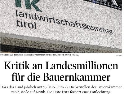 Bericht der Tiroler Tageszeitung zur Landwirtschaftskammer Tirol