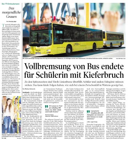 Bericht der Tiroler Tageszeitung über einen Unfall im Schulbus