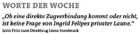 Zitat der Liste Fritz zum Direktzug Lienz-Innsbruck