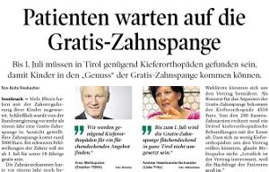 Bericht der Tiroler Tageszeitung zum Thema Gratis-Zahnspange