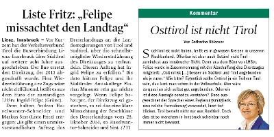 Ausschnitt aus der Tiroler Tageszeitung zum Thema Direktzug Lienz-Innsbruck