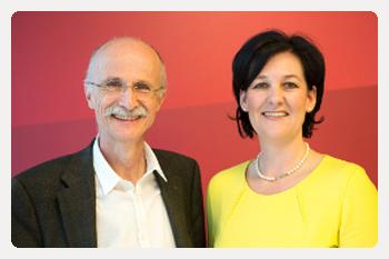 Fritz Abgeordnete Andreas Brugger und Andrea Haselwanter-Schneider