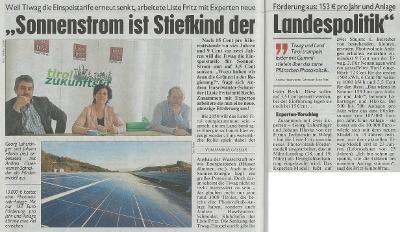 Photovoltaik Artikel in der Kronen Zeitung