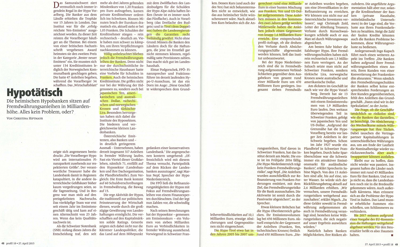 Das Magazin Profil berichtet zur Hypo Tirol Bank