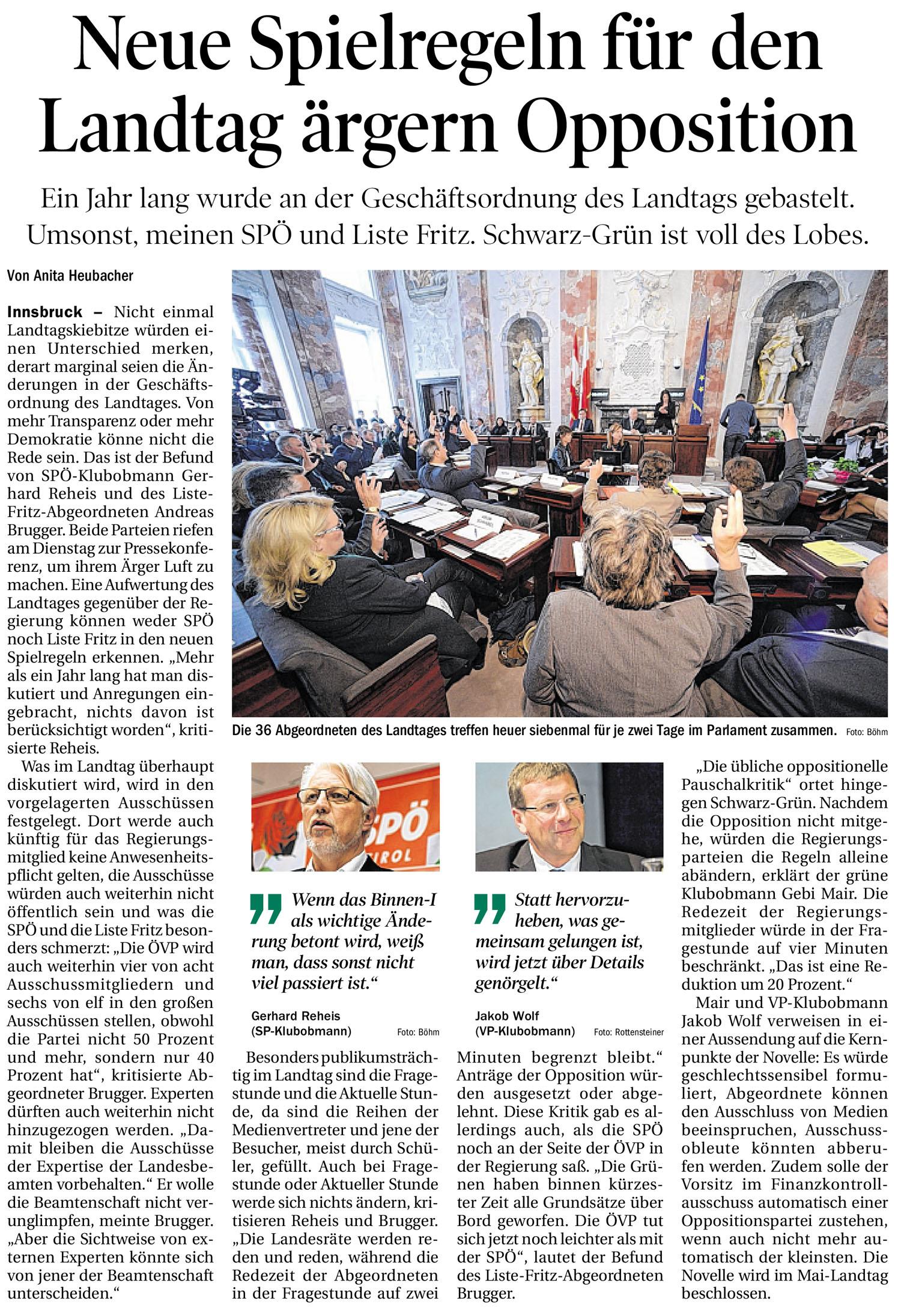 Tiroler Tageszeitung Artikel zum Thema Demokratie
