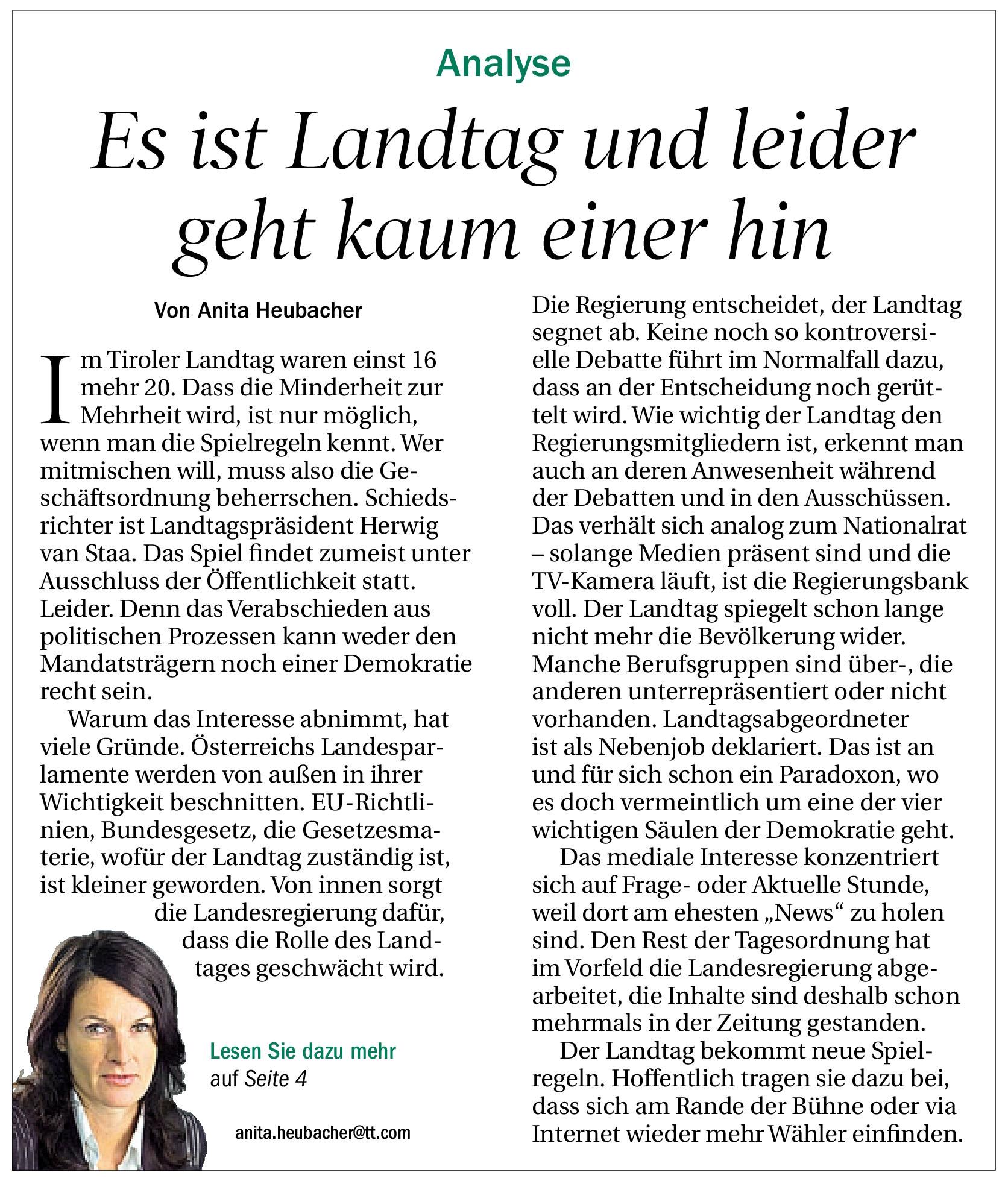 Tiroler Tageszeitung Kommentar zum Thema Demokratie